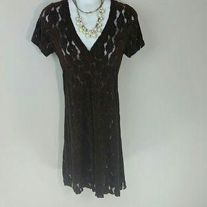 Dress lace sheer v-neck layering shift full skirt